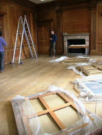 Hestercombe House - The Dining Room - picture being hung