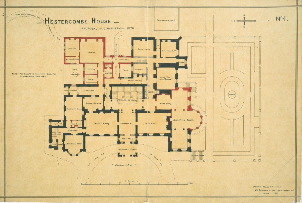 Hestercombe House proposal for completion in 1876 by Henry Hall