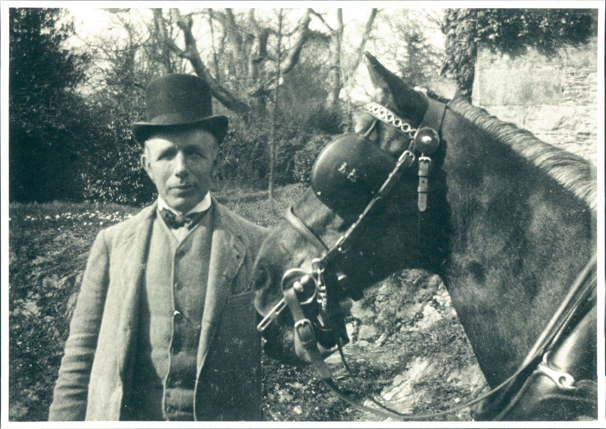 Fig. 7 -- Edward ('Ted') Humphris (1856-1924) with carthorse Tomasina 1904 - domestic servants