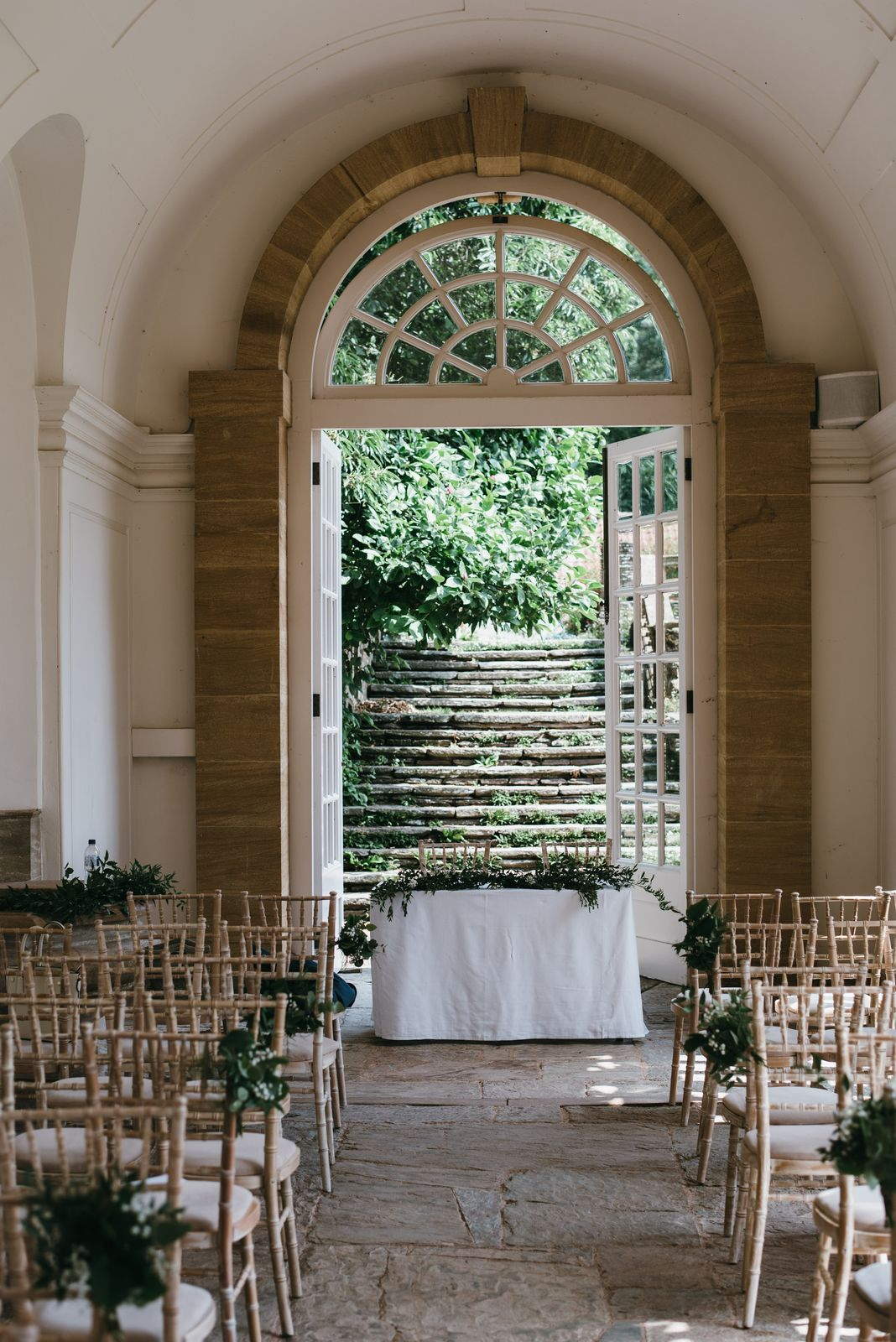 The Orangery at Hestercombe ready for a wedding - the beautiful back-up for outdoor wedding ceremonies in Somerset should it start to rain.