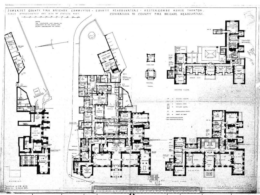 Fig. 2: Plan. Hestercombe House Conversion to County Fire Brigade Headquarters. County Architect, R. O. Harris. 17 March 1953.