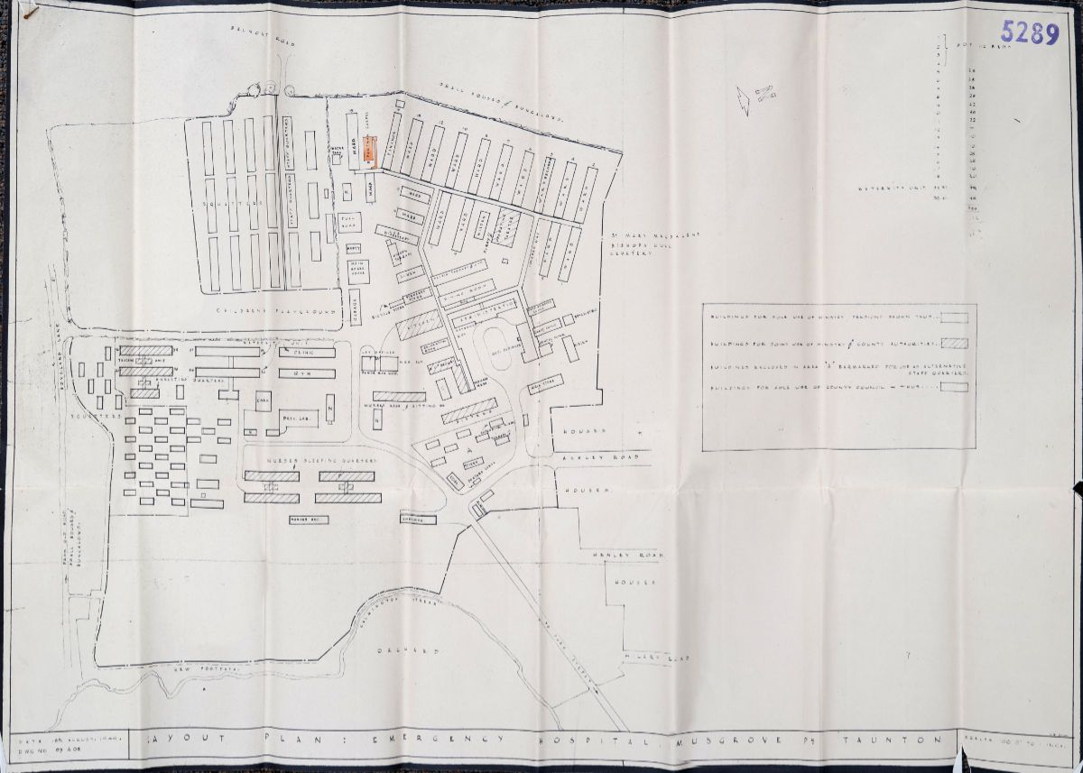 Fig. 9 Site Plan 18 Aug 1949 re Musgrove Park Hospital chapel relocation - Hestercombe Archives