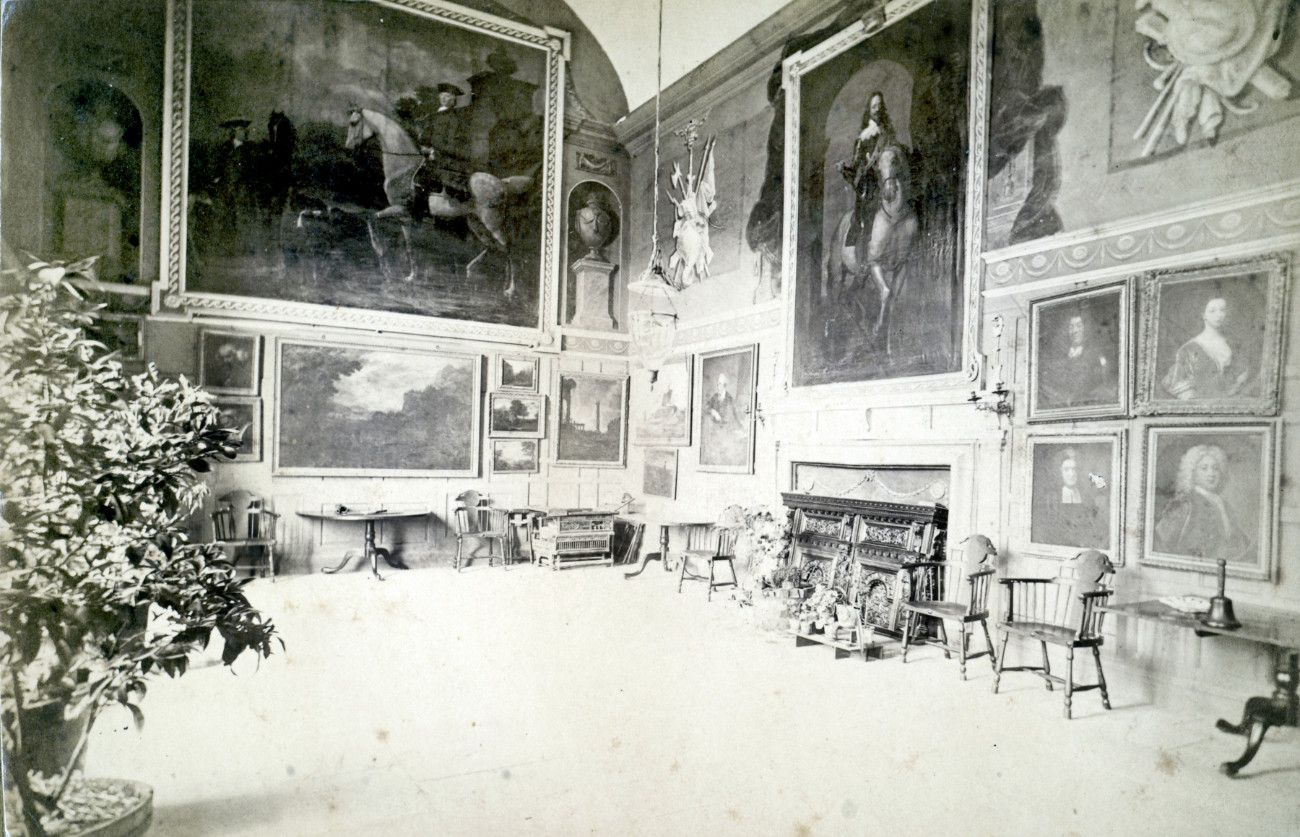 The magnificent Bampfylde/Phelps painting hanging in Hestercombe's Great Hall in 1872