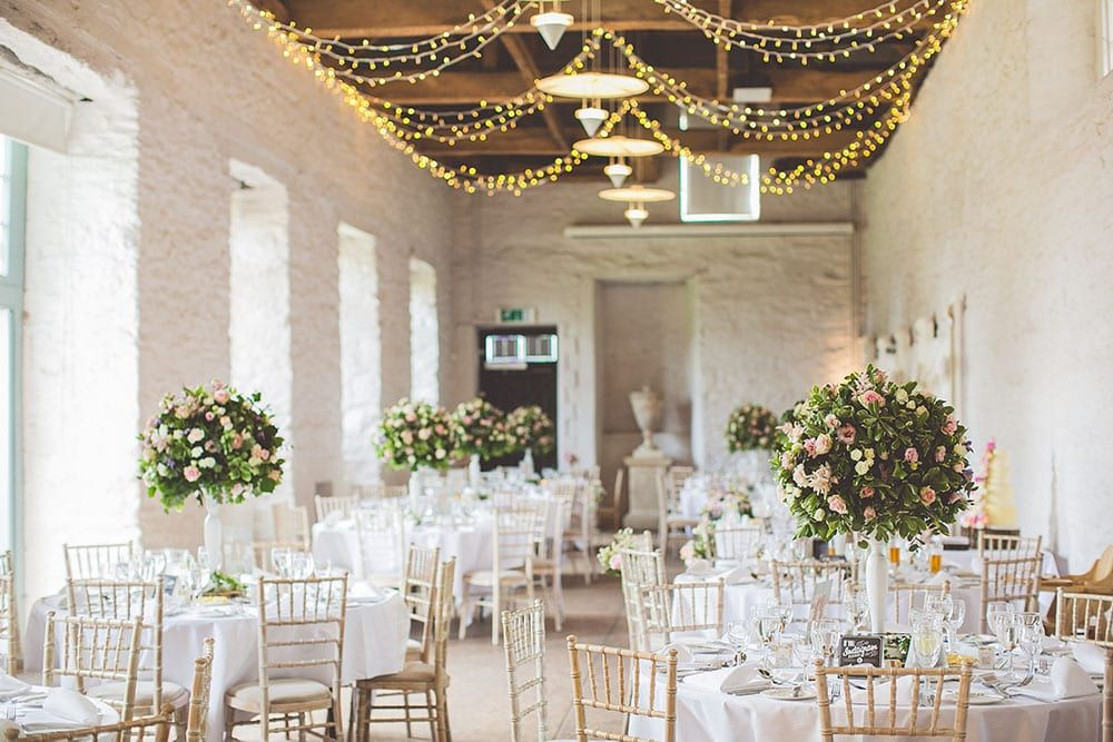 Fairy light canopy in the barn Bampfylde Hall - beautiful affordable wedding venue in Somerset
