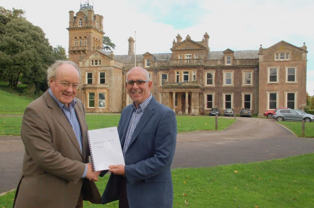 Sir Andrew Burns Philip White MBE with deeds to Hestercombe House Oct 2013 web
