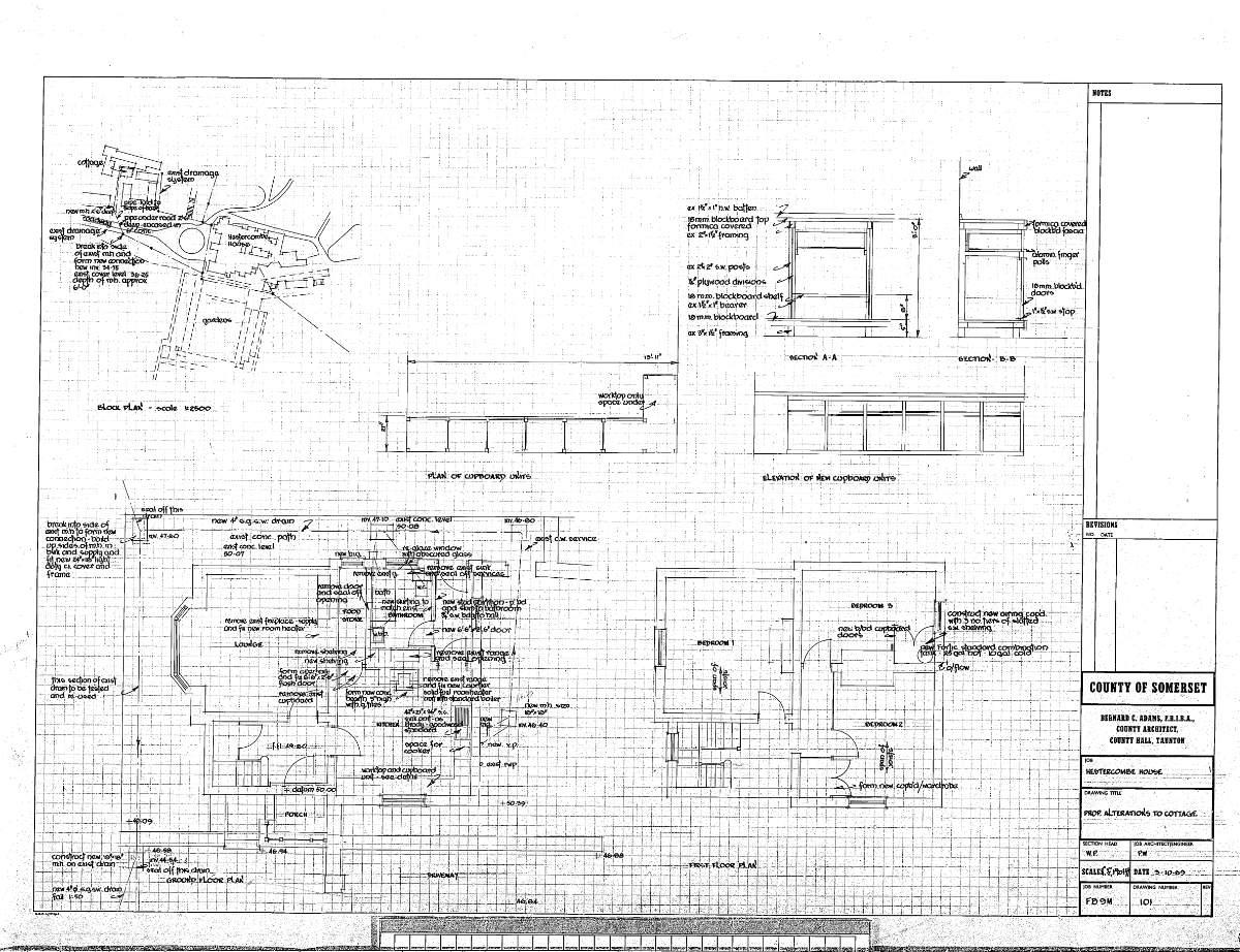 Fig. 12 Proposed Alterations to Chauffeur's Cottage, Oct 1969_somerset fire brigade-hestercombe