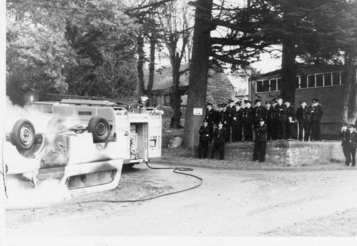 Fig. 14 Fire Brigade Exercise w. Portman Garage background c.1954_somerset fire brigade-hestercombe