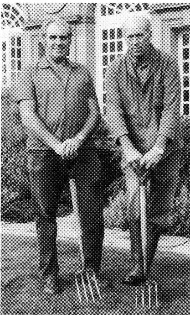 Fig. 15 Gardeners Wilf Perry (right) and Jim Stagg (left) 1976_somerset fire brigade-hestercombe