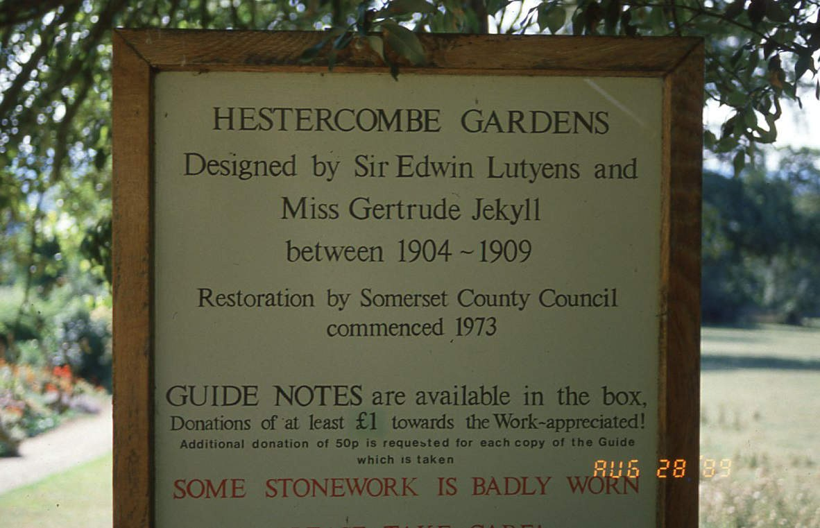 Fig. 19 Sign by Formal Garden entrance 1989_somerset fire brigade-hestercombe