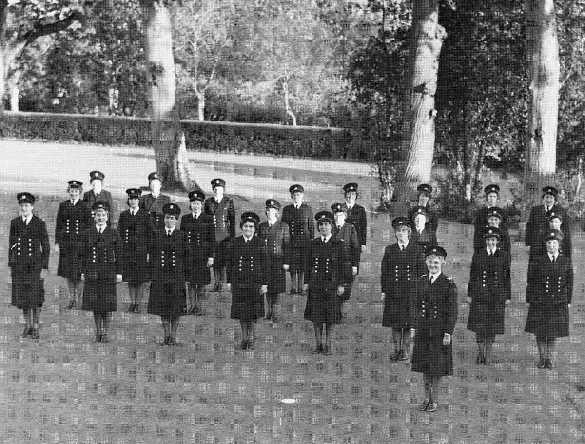 Fig. 21 A.F.S. Firewomen on parade 1960s_somerset fire brigade-hestercombe