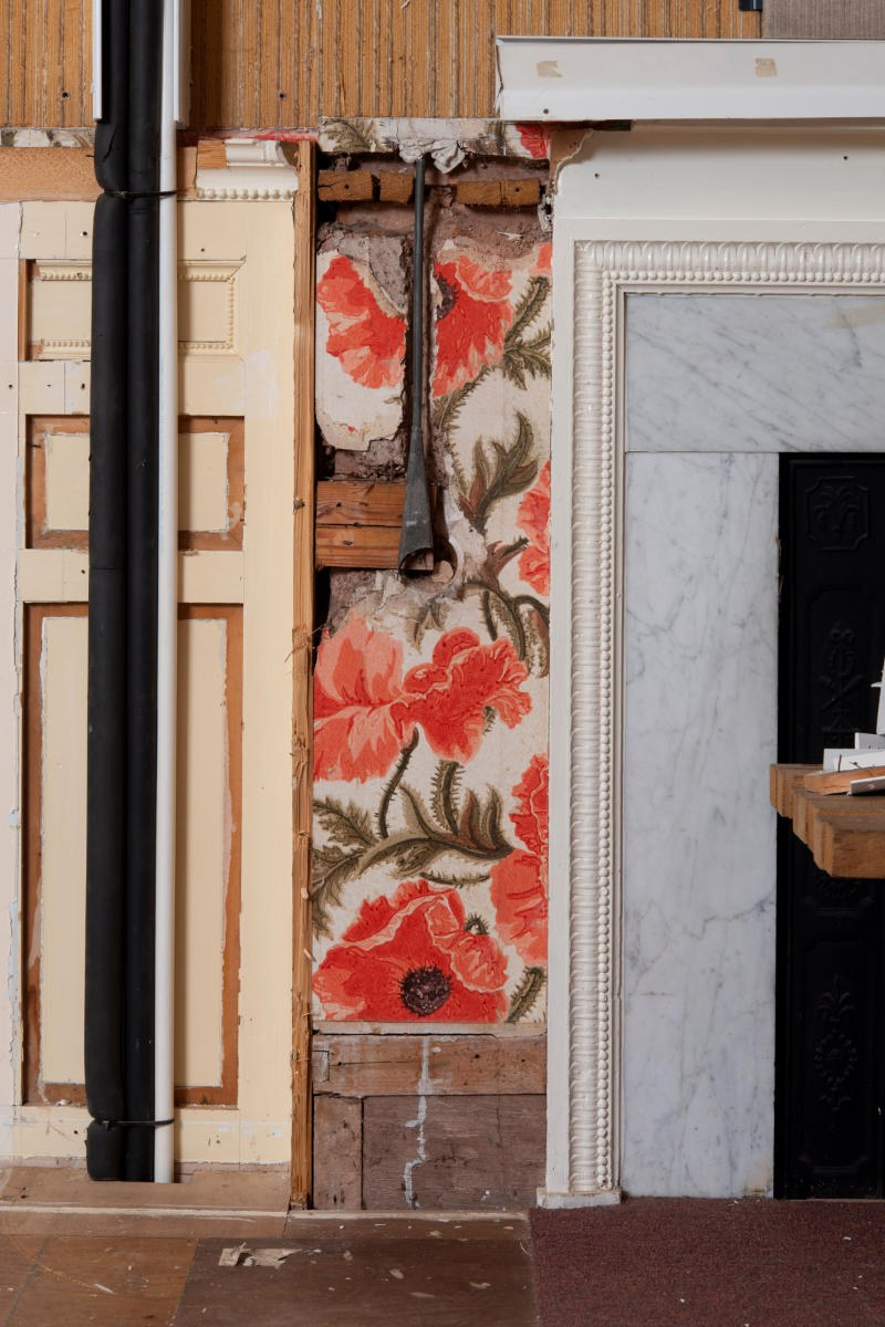 Fig. 9 Wallpaper pattern in Poppy Room, now Gallery 6_somerset fire brigade-hestercombe